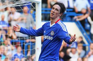 Chelsea's Fernando Torres reacts to another missed chance to break his duck for the club. Photo: Getty Images