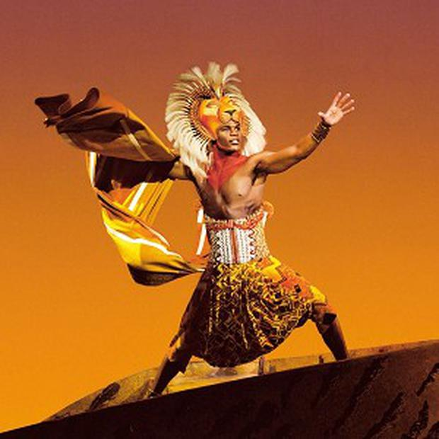 Undated Disney handout photo of Andile Gumbi as Simba in the London production of Disney's The Lion King