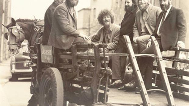 The Dubliners filming a video for 'Seven Drunken Nights' for the BBC in 1967