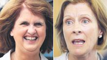 Social Protection Minister Joan Burton (left) denied interfering with the politically sensitive paper. Right: ESRI director Frances Ruane