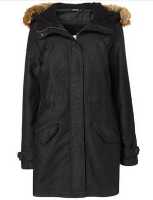 Borg hooded parka,  £100.00, from Topshop.com