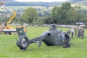 Emergency crews at the scene near Borrisoleigh, Co Tipperary, where the air ambulance made a forced landing