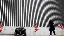 Donald Trump visits the US-Mexico border wall, in Alamo, Texas on Tuesday this week