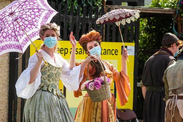 Extras on the set of Disney's Disenchanted, in Enniskerry, Co Wicklow. Photo: Mark Condren