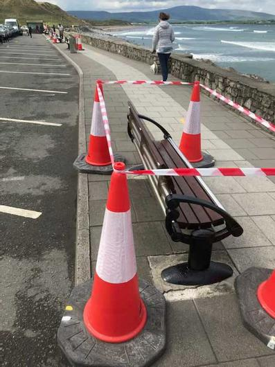 The offending bench in Strandhill, Co Sligo, was                   being repainted