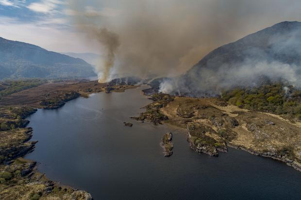 A fire burning in Killarney National Park, Eagle's Nest, and much of the Park is under fire, currently, Killarney National Park and Wildlife Services, The Irish Air Corps , Kerry County Council Fire Department and Killarney Water Rescue Search and Recovery, have been dispatched to help contain the fire.