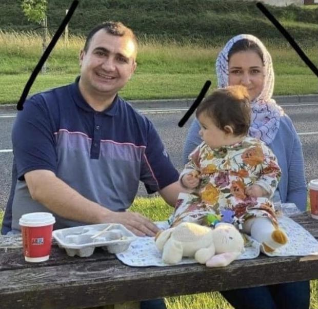 Karzan Sabah Ahmed (left), Shahen Qasm and their eight-month-old baby Lena