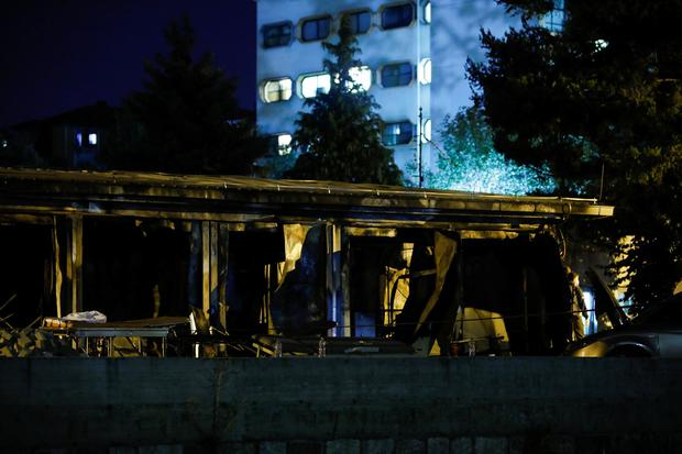 A hospital for coronavirus disease (COVID-19) patients is seen after a fire broke out, in Tetovo, North Macedonia, September 9, 2021. REUTERS/Ognen Teofilovski