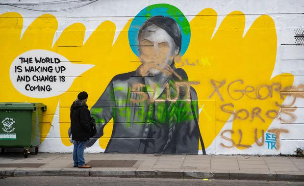 Mural of Greta Thunberg in Dublin city centre which was defaced