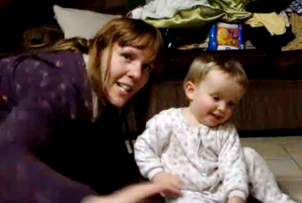 Rebecca Saunders with her daughter Clarissa as a baby