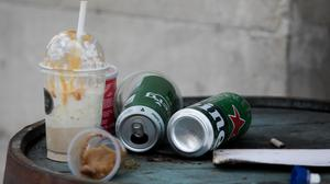 Discarded drinks containers in Dublin's city centre. Picture: Gareth Chaney/Collins