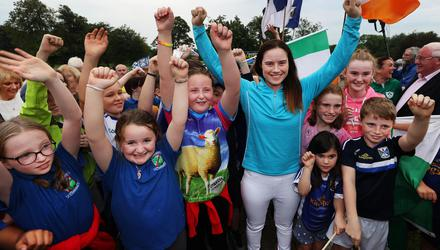 Golfer Leona Maguire is welcomed home to a reception at the Slieve Russell Hotel in Co Cavan last night. Photo: Steve Humphreys