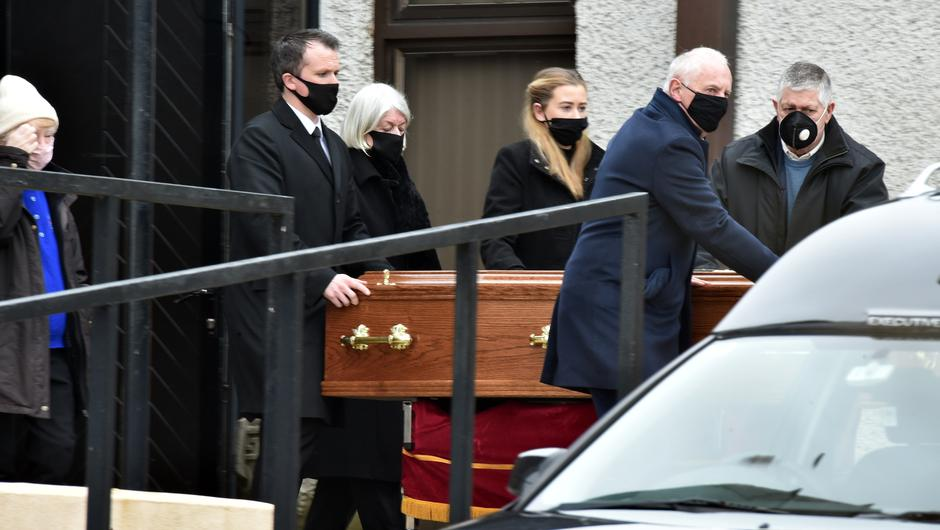 The remains of John Hennessy are removed for burial following his funeral in Mitchelstown, Co. Cork Pic Michael Mac Sweeney/Provision