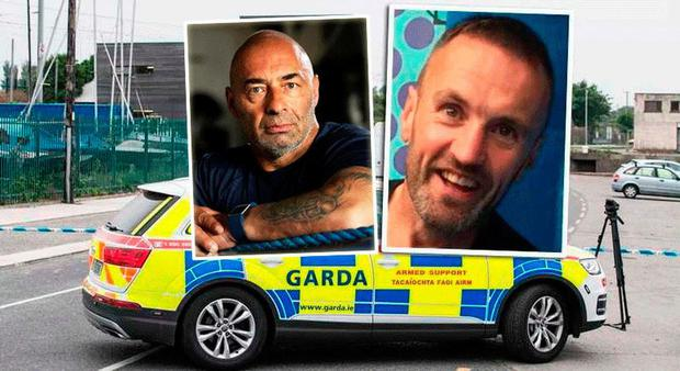 The scene outside Bray Boxing Club.  Inset: Peter Taylor (left) and shooting victim Bobby Messett (right)