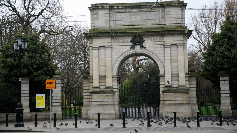 A closed St Stephen's Green. Photo: Gareth Chaney/Collins