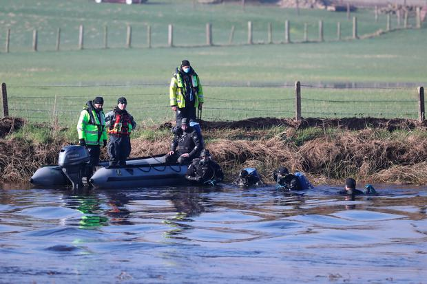 Divers at Ardreigh Lock outside Athy, Co Kildare as the search continues for a man gone missing after a young child was rescued during a kayaking incident on Sunday evening. Monday March 1, 2021. PA Photo. See PA story IRISH River. Photo: Niall Carson/PA Wire