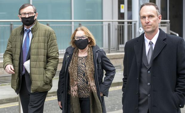 Padraig Creaven (right), of Menlo, Galway, widower of Aoife Mitchell Creaven, leaving the High Court with Aoife's parents, Gabriel (left) and Marcella Mitchell. Photo