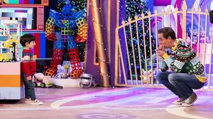Adam King from Cork (age 6) pictured with Ryan Tubridy at The Late Late Toy Show 2020. Photo: Andres Poveda