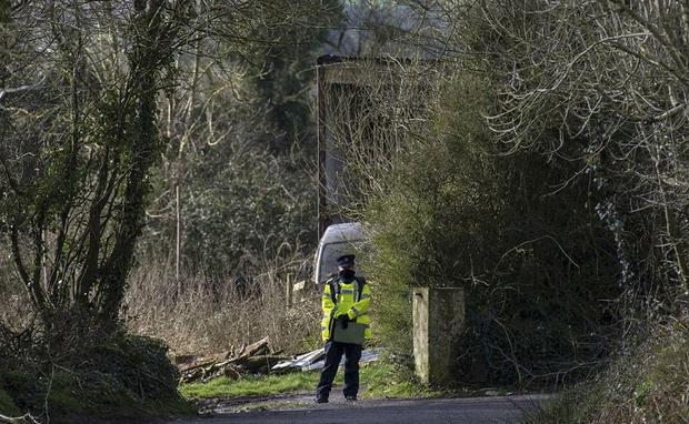 Gardaí at the farm off the Mitchelstown-Mallow road in Co Cork where the bodies of two brothers in their 60s were discovered. The body of a third man was later found in a river. Photo: Daragh Mc Sweeney/Provision