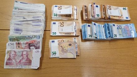 Cash seized during garda search operations in Dublin and Kildare.
