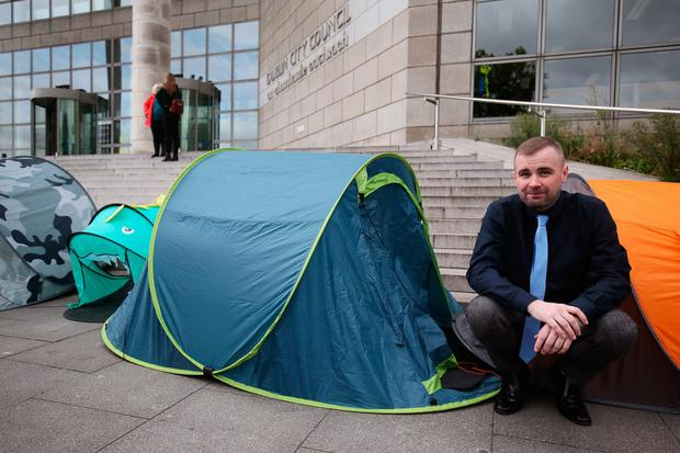 The late Anthony Flynn of Inner City Helping                   Homeless, during a protest outside Dublin City Council                   offices in August 2019. Picture by Brian Lawless