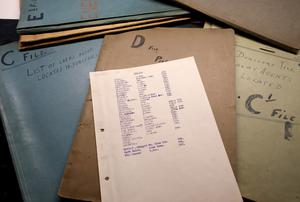 A Collins Papers file in the Military Archives, listing hotels where British agents were staying, the Republican 'insiders' in each one, and codes for Collins' agents. Photo: Frank McGrath
