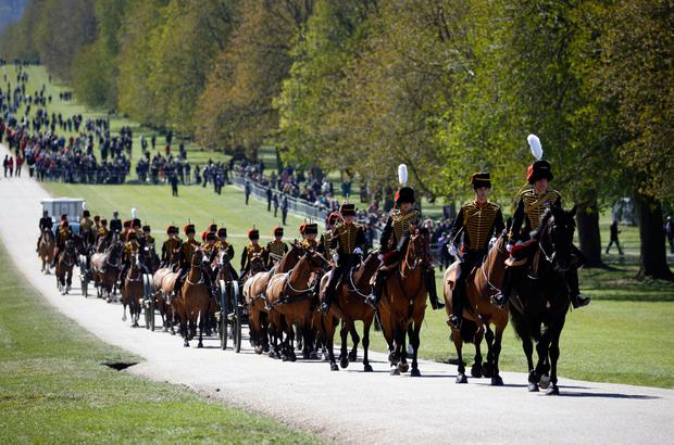 Kings Troop Royal Horse Artillery make their way up The Long Walk towards Windsor Castle ahead of the funeral of the Duke of Edinburgh in Windsor Castle, Berkshire. Picture date: Saturday April 17, 2021. PA Photo. See PA story FUNERAL Philip. Photo credit should read: Phil Noble/PA Wire