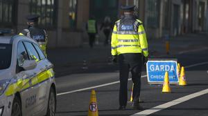 A Garda checkpoint in Dublin. Photo: Stephen Collins