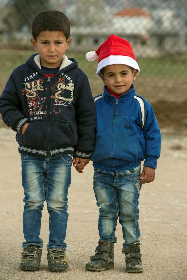 Brothers Ali (5) and Yaacoub (3) in a Unicef center in the Bekaa Valley, Lebanon