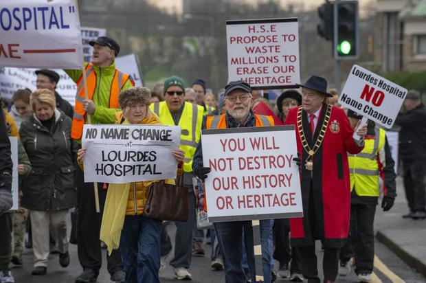 Close to one thousand people marched through Drogheda this afternoon to protest at proposals to change the name of Our Lady of Lourdes Hospital Photo: Ciara Wilkinson