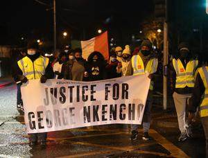 13/01/2021 Supporters and friends of the family of George Nkencho held a candlelit vigil in honour of George Nkencho in Blanchardstown Dublin this evening. Picture Colin Keegan, Collins Dublin