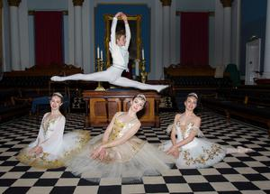 Anthony White (leaping) with (left to right) Alana Borza, Victoria Young and Megan Mullen. Photo: Keith Dixon