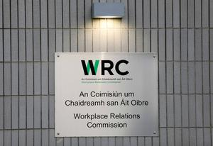 A sign at the Workplace Relations Commission in                   Dublin.