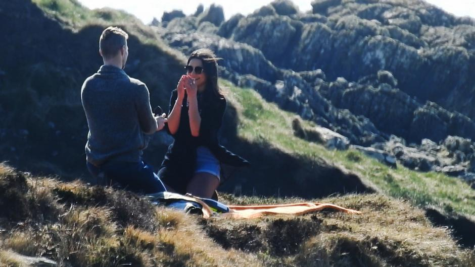 Blue Cassidy who proposed to his girlfriend Maria Gilvanda at Dooneen, west Cork