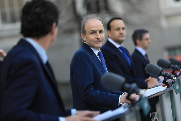 Micheál Martin, Leo Varadkar and Eamon Ryan have endured a rocky ride. Picture by Julien Behal