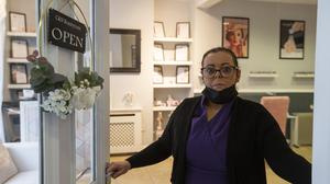 Christine McTiernan, who defied Level 5 restrictions and opened her premises at C&N Beauty Room, Balbriggan, Dublin, to the public. Photo: Colin Keegan/Collins Dublin