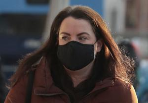 Louise D'Alton pictured leaving the Four Courts after a High Court action on behalf of her son Isaac Pic: Collins Courts