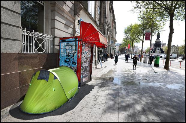 A tent on O'Connell Street during the week of the Spring Count, carried out by the Simon Community. Pic: Steve Humphreys