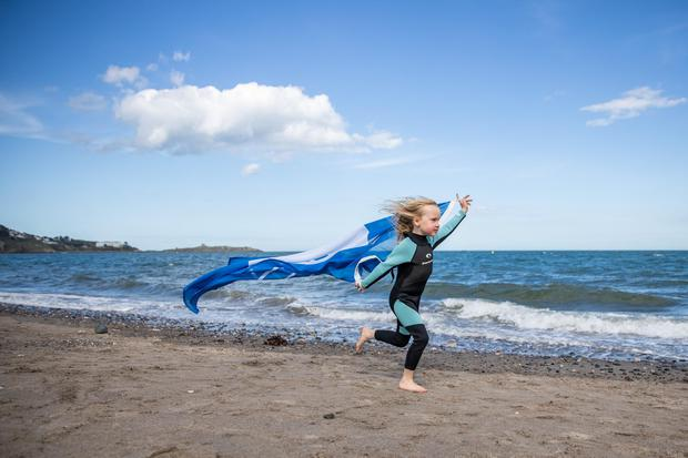 Farrah Culhane (6) marking An Taisce's announcement of the International Blue Flag and Green Coast award recipients for 2021 on Killiney Beach, Co Dublin which has regained its Blue Flag after a 5 year absence.Pic:Naoise Culhane