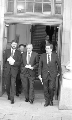 Albert Reynolds, Gerry Adams and John Hume celebrate the IRA ceasefire at Government buildings. 6/9/1994