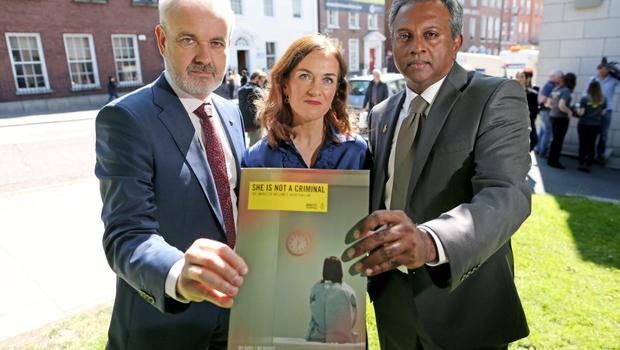 Abortion call: Amnesty's Colm O'Gorman and Salil Shetty, Dr Rhona Mahony, of the National Maternity Hospital