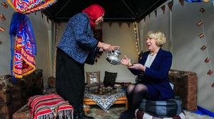 Celebration: Sabina Higgins, wife of President Michael D Higgins, visits the Amal Women's Association at the Islamic Foundation of Ireland on International Women's Day last year. Photo: Gareth Chaney Collins