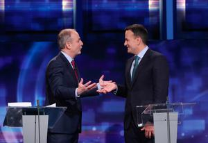 Sparring partners: Micheál Martin and Leo Varadkar at a leaders' debate last month. Photo: Niall Carson/PA