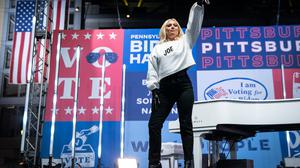 Bum note: Lady Gaga performing in support of Biden this week. She was criticised for mocking rednecks in a post online. Photo by Drew Angerer/Getty