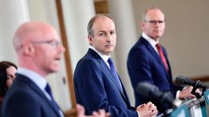 First foray into EU-land: Taoiseach Micheál Martin (centre) faces a vital meeting with fellow EU leaders. PHOTO: JULIEN BEHAL/PA WIRE