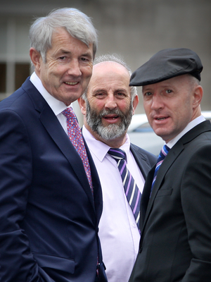 Tipperary TD Michael Lowry (left) tops the list. Pictured here with Danny Healy Rae and Michael Healy Rae, who also feature on the rich list Photo: Tom Burke