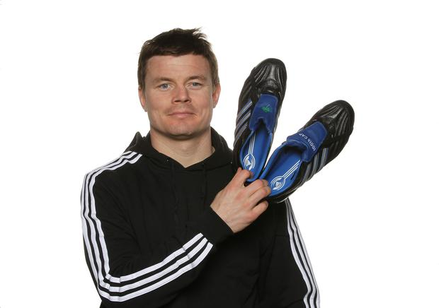 Ireland Captain Brian O'Driscoll pictured with the Adidas 9:15 boots