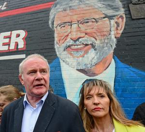 Martin McGuinness and Martina Anderson address nationalists on the Falls Road in support of Gerry Adams, after Mr Adams was taken into police custody for several days last Maysaid