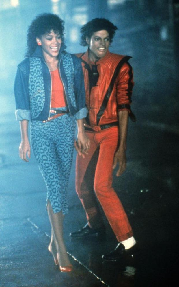 Michael Jackson and Ola Ray during the making of the Thriller video, 1983 Credit: Everett/REX/Shutterstock