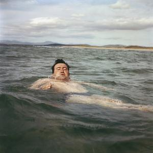 Brendan Behan pictured swimming in the sea off the coast of Co Donegal in 1960